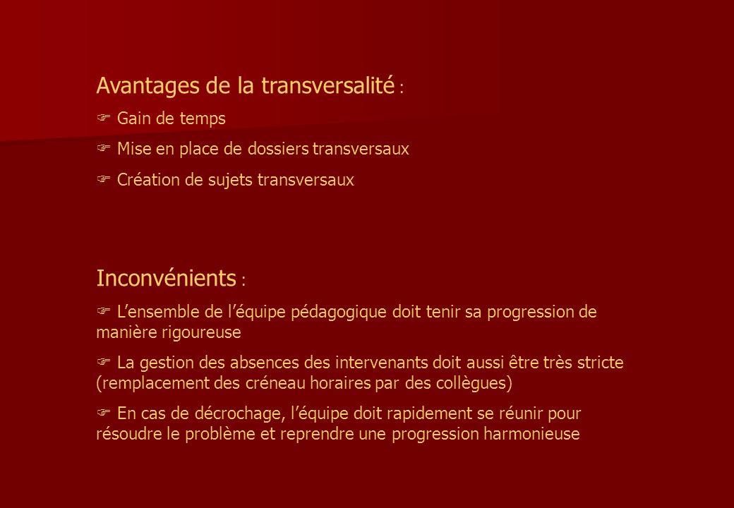 Avantages de la transversalité :