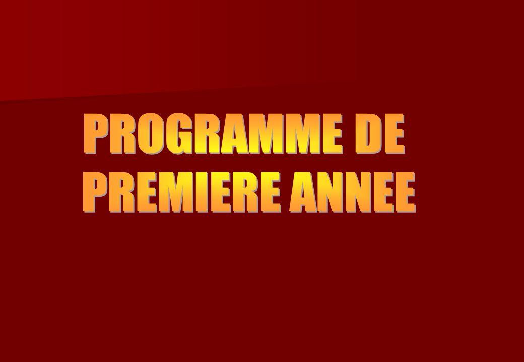 PROGRAMME DE PREMIERE ANNEE