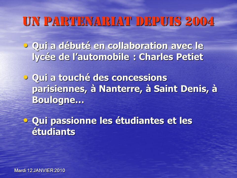 Un partenariat depuis 2004Qui a débuté en collaboration avec le lycée de l'automobile : Charles Petiet.