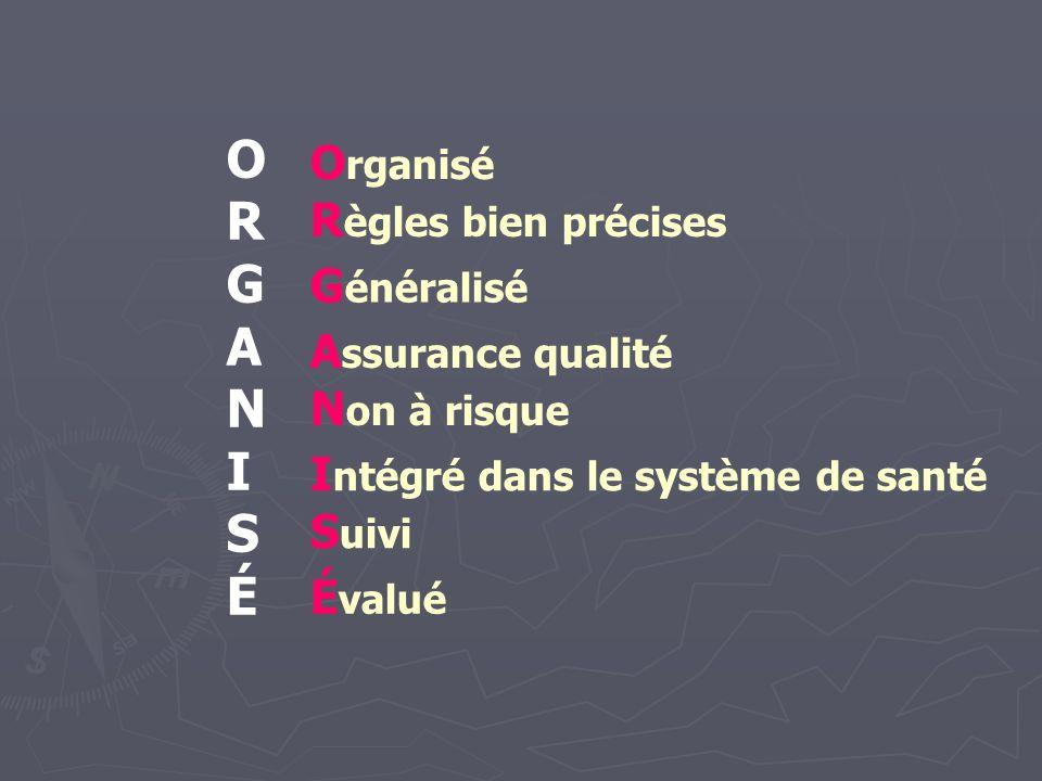 ORGANISÉ Organisé Règles bien précises Généralisé Assurance qualité