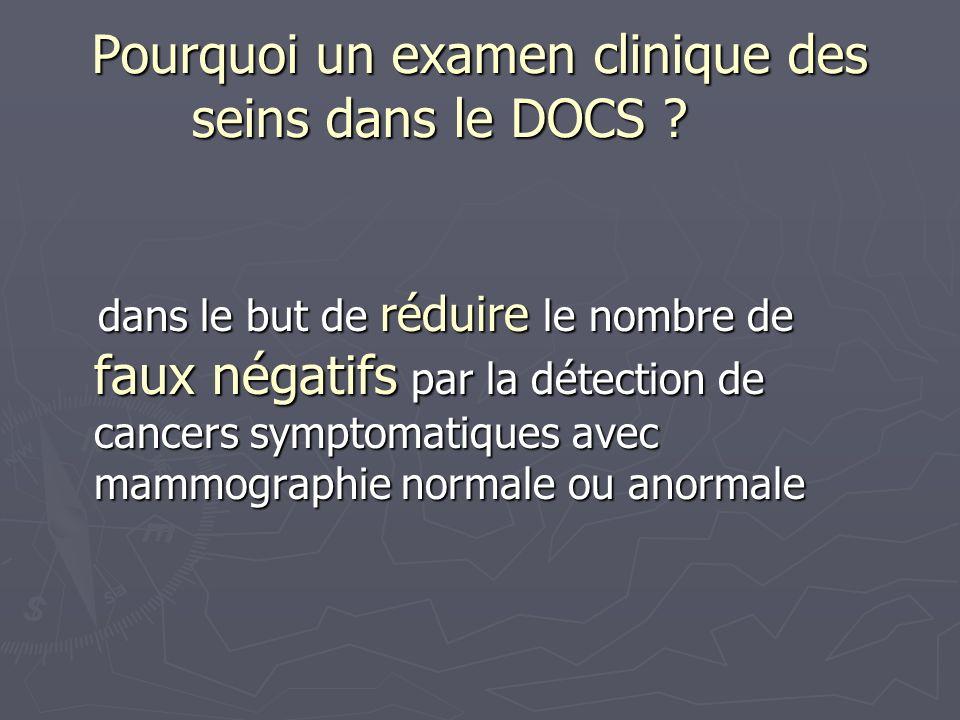 Pourquoi un examen clinique des seins dans le DOCS