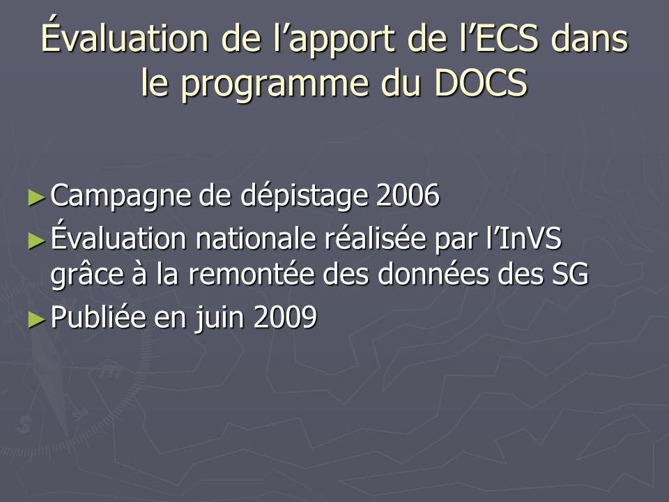Évaluation de l'apport de l'ECS dans le programme du DOCS