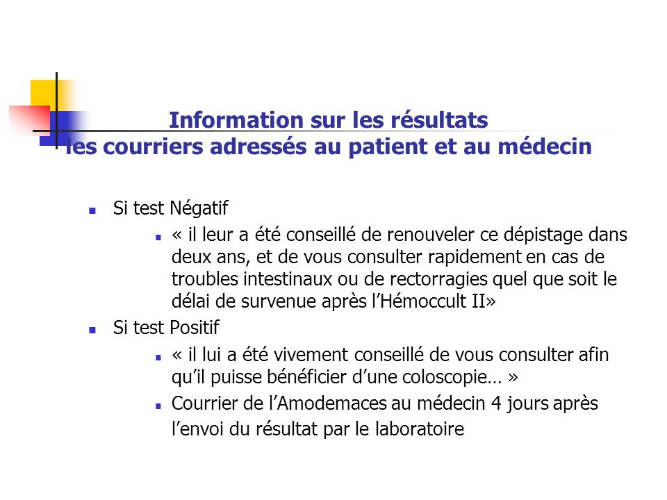 Information sur les résultats les courriers adressés au patient et au médecin
