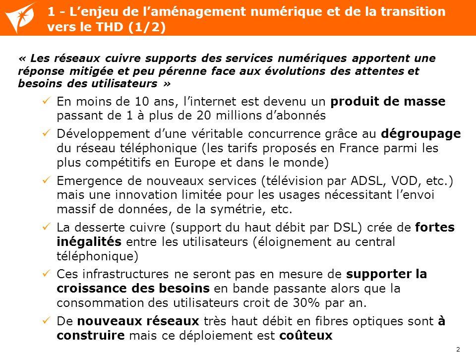 1 - L'enjeu de l'aménagement numérique et de la transition vers le THD (1/2)
