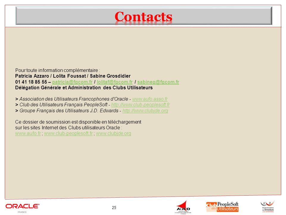 Contacts Pour toute information complémentaire :