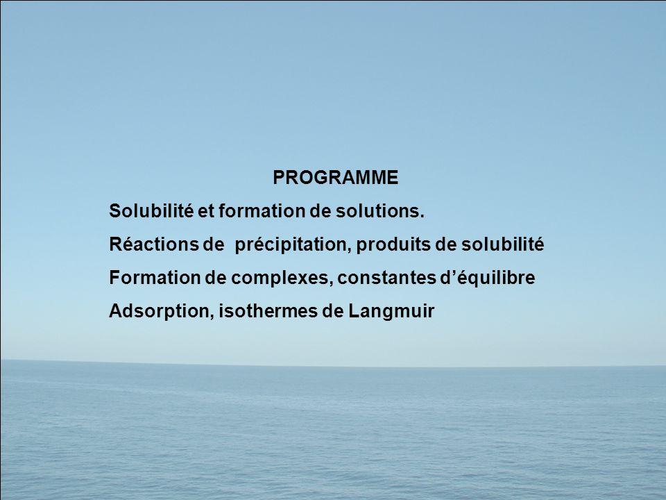 PROGRAMME Solubilité et formation de solutions. Réactions de précipitation, produits de solubilité.