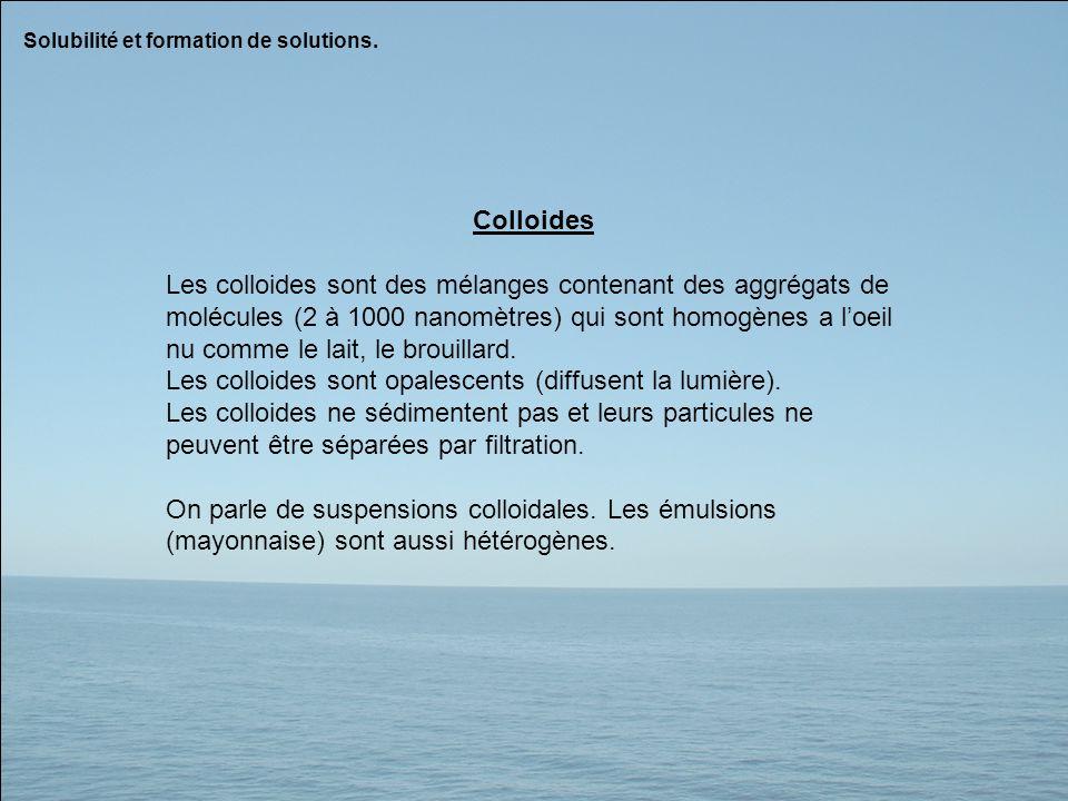 Les colloides sont opalescents (diffusent la lumière).