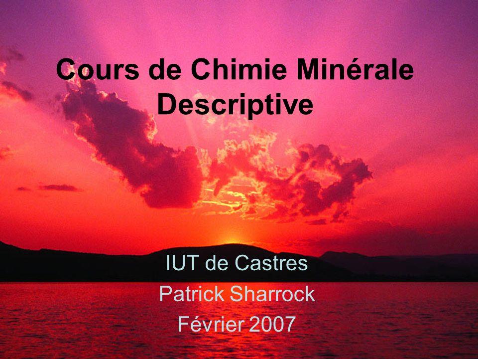Cours de Chimie Minérale Descriptive