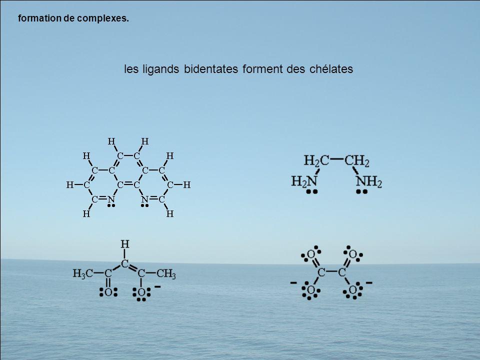 les ligands bidentates forment des chélates