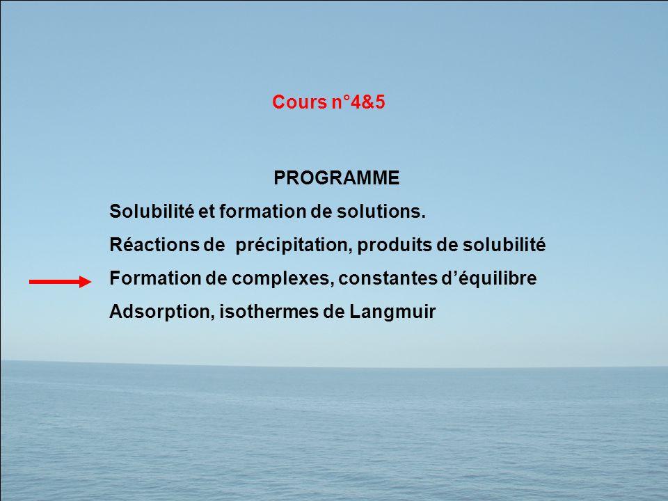 Cours n°4&5 PROGRAMME. Solubilité et formation de solutions. Réactions de précipitation, produits de solubilité.