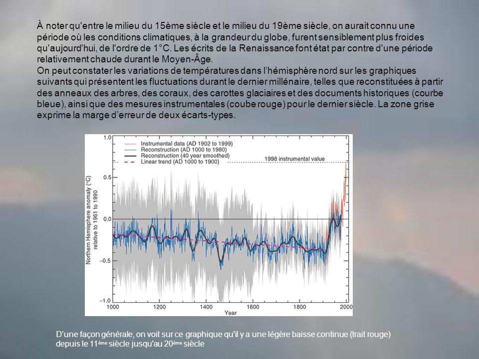 À noter qu entre le milieu du 15ème siècle et le milieu du 19ème siècle, on aurait connu une période où les conditions climatiques, à la grandeur du globe, furent sensiblement plus froides qu aujourd hui, de l ordre de 1°C. Les écrits de la Renaissance font état par contre d une période relativement chaude durant le Moyen-Âge.