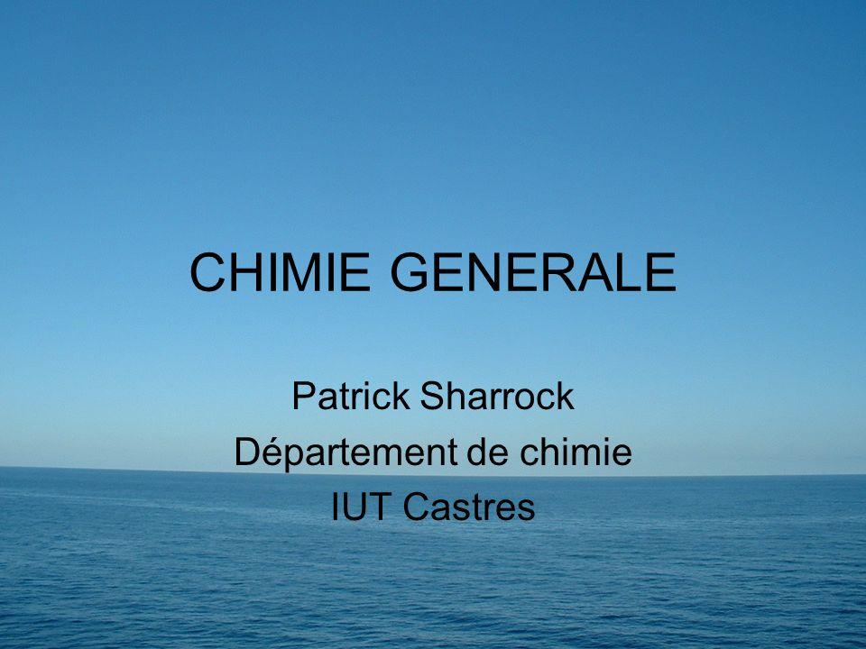 Patrick Sharrock Département de chimie IUT Castres