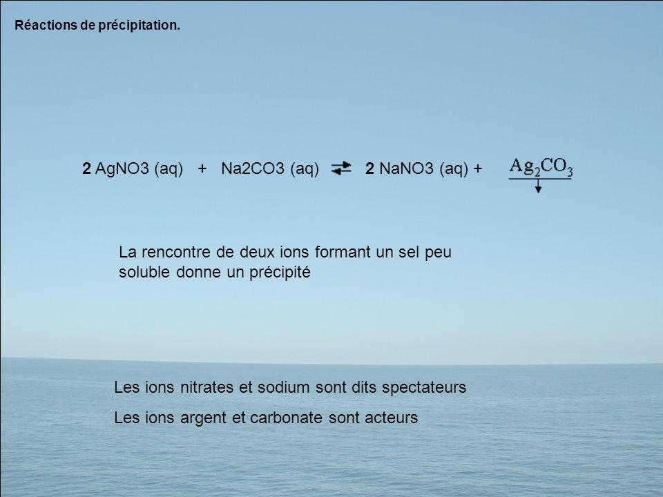 2 AgNO3 (aq) + Na2CO3 (aq) 2 NaNO3 (aq) +