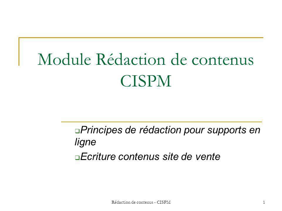 Module Rédaction de contenus CISPM
