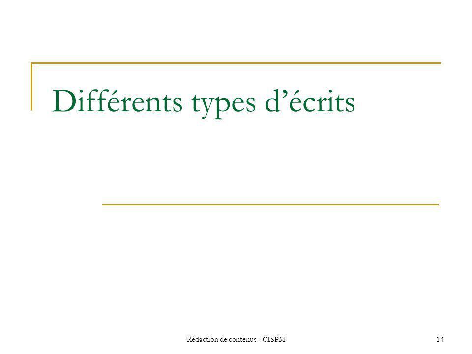 Différents types d'écrits