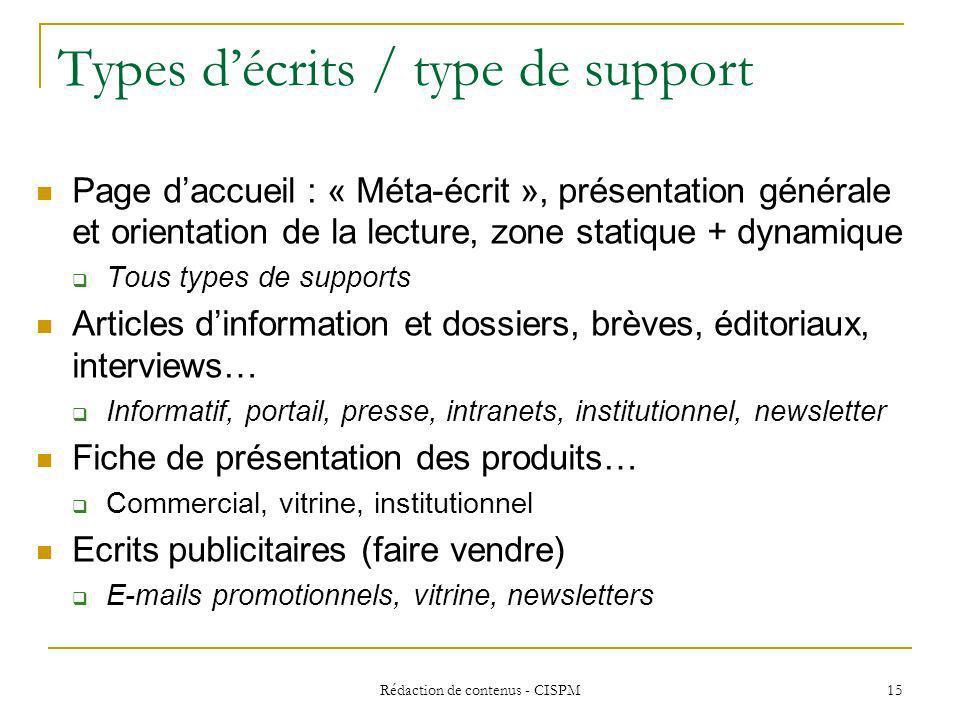 Types d'écrits / type de support