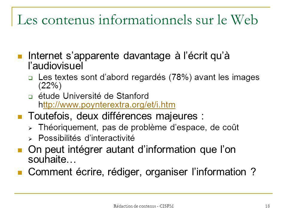 Les contenus informationnels sur le Web