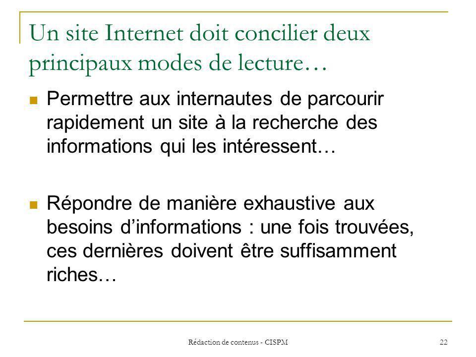 Un site Internet doit concilier deux principaux modes de lecture…