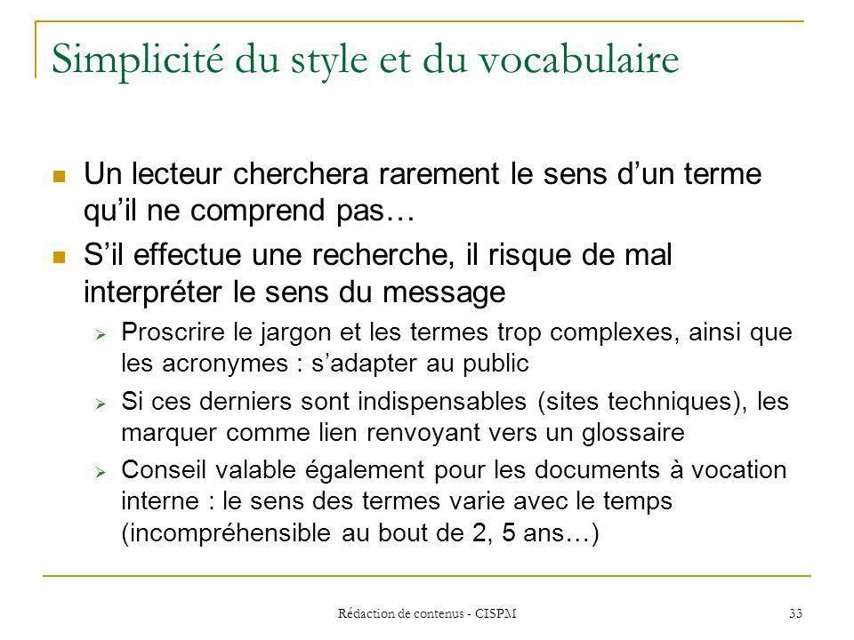 Simplicité du style et du vocabulaire