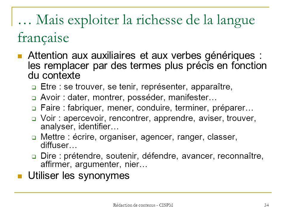 … Mais exploiter la richesse de la langue française