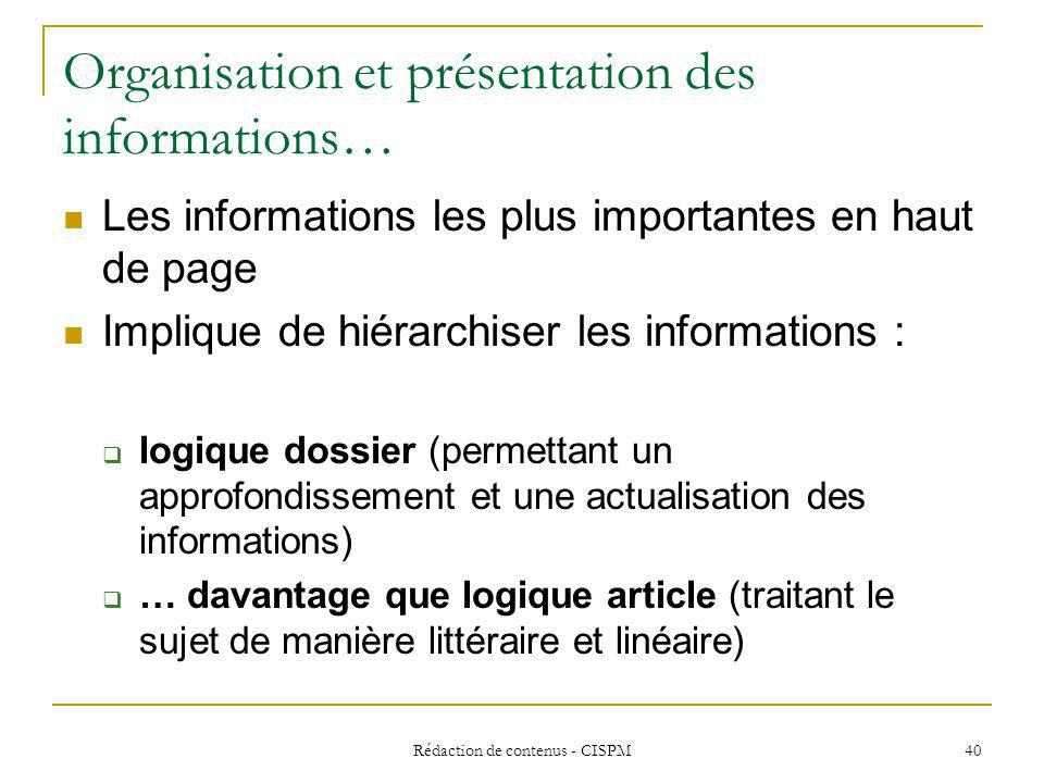 Organisation et présentation des informations…