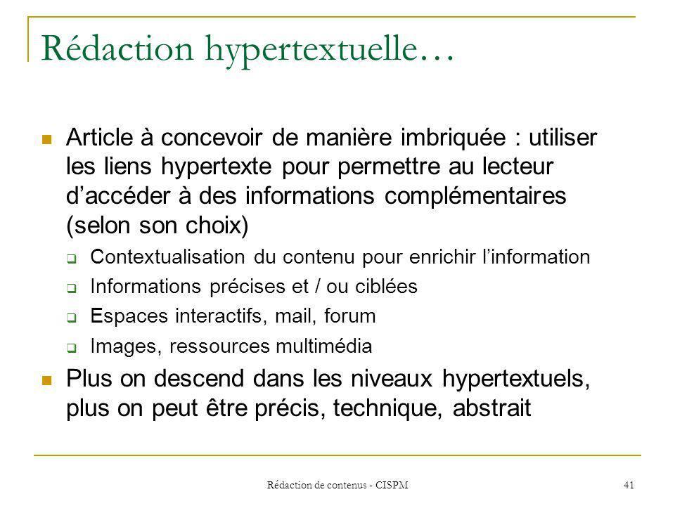 Rédaction hypertextuelle…
