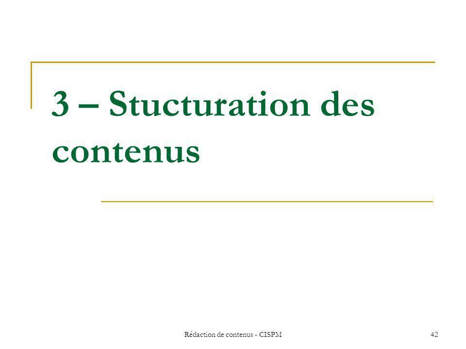 3 – Stucturation des contenus