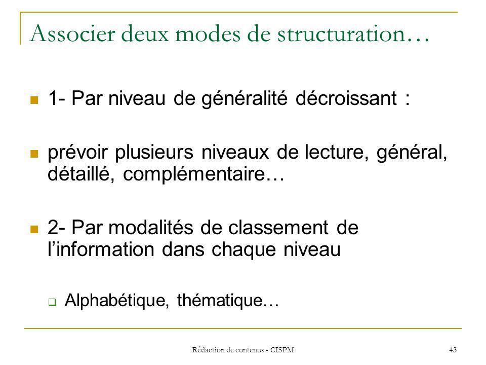 Associer deux modes de structuration…