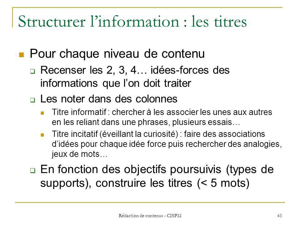 Structurer l'information : les titres