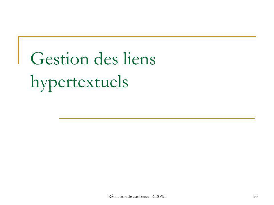 Gestion des liens hypertextuels