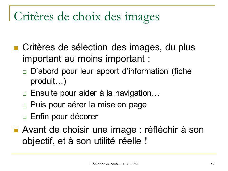 Critères de choix des images