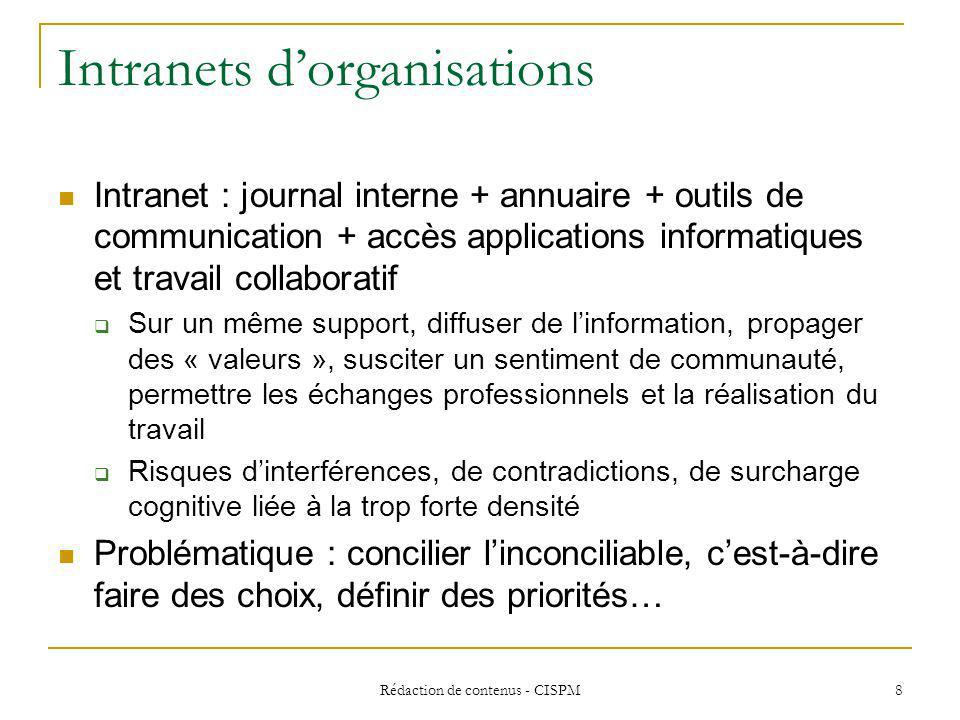Intranets d'organisations