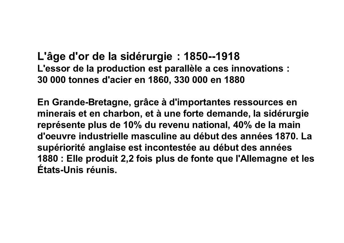 L âge d or de la sidérurgie : 1850--1918