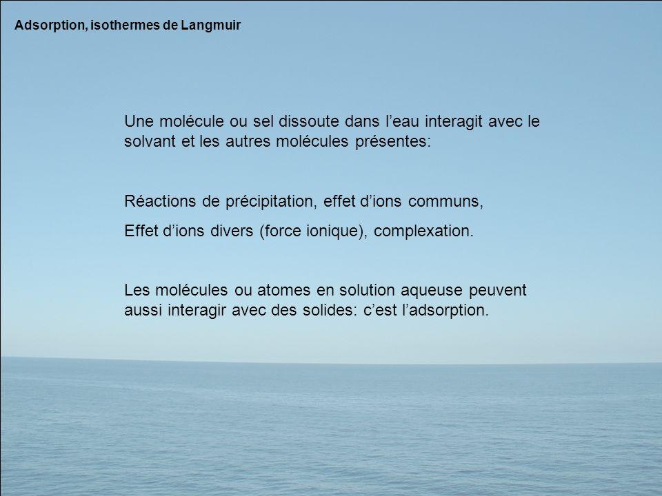 Réactions de précipitation, effet d'ions communs,