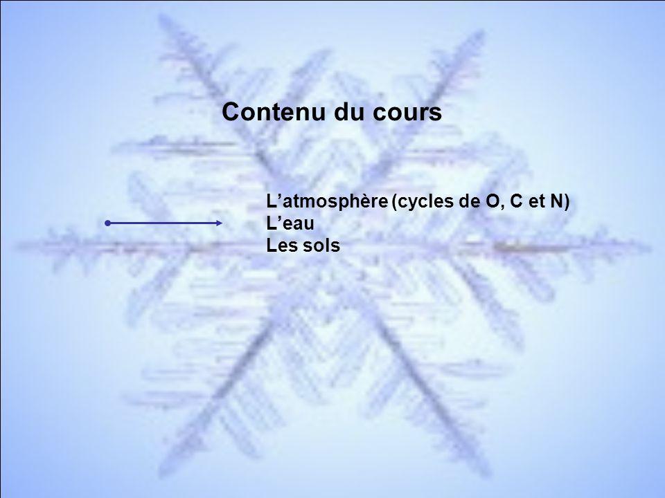 Contenu du cours L'atmosphère (cycles de O, C et N) L'eau Les sols