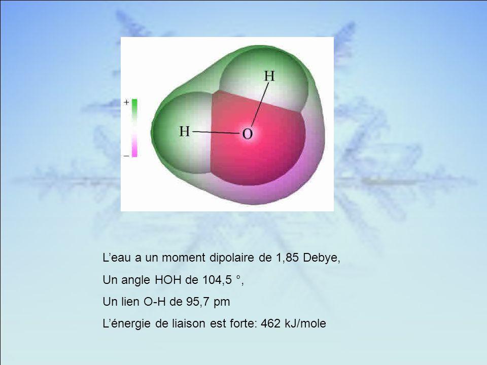 L'eau a un moment dipolaire de 1,85 Debye,