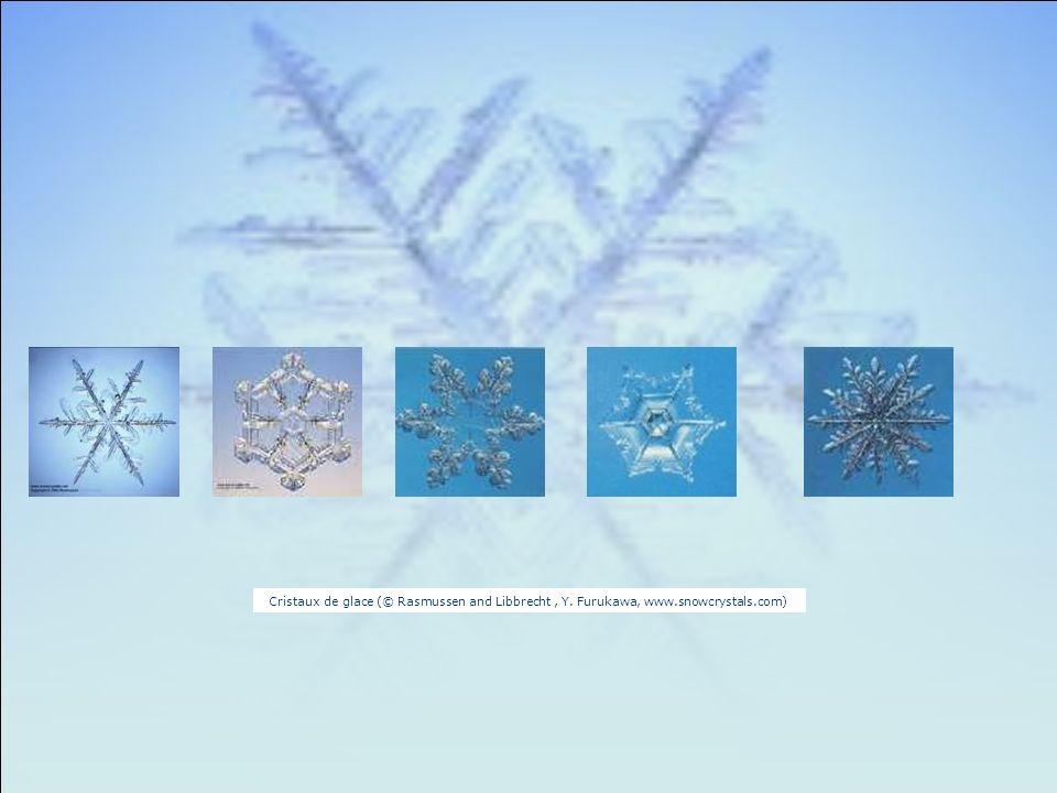 Cristaux de glace (© Rasmussen and Libbrecht , Y. Furukawa, www