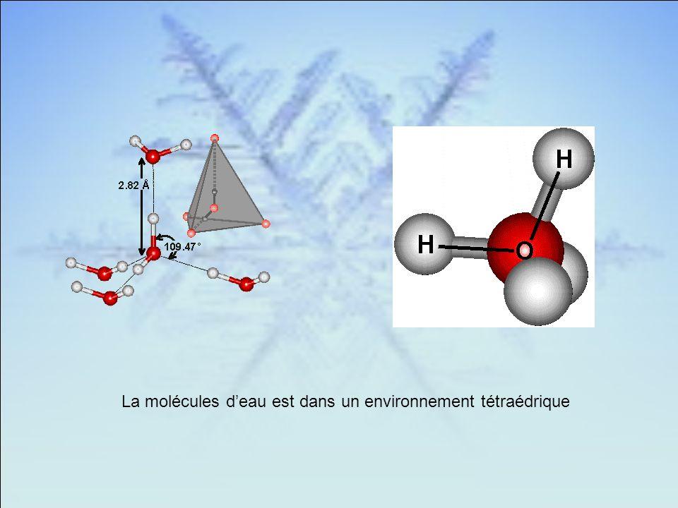 La molécules d'eau est dans un environnement tétraédrique