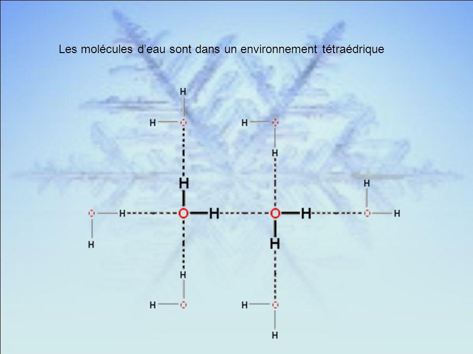 Les molécules d'eau sont dans un environnement tétraédrique