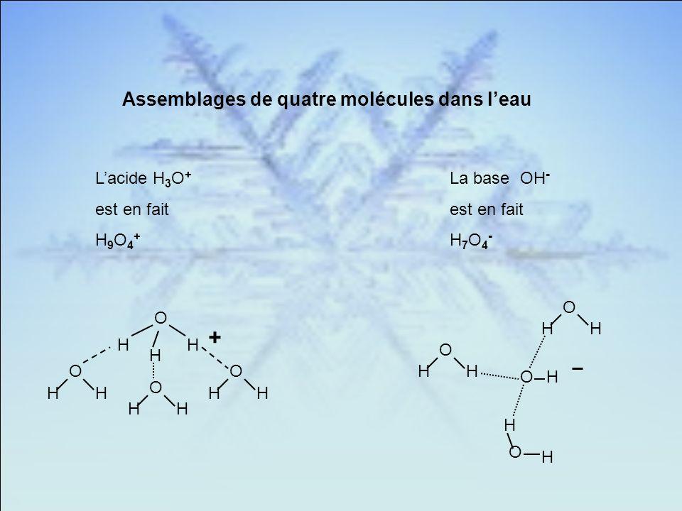 + Assemblages de quatre molécules dans l'eau L'acide H3O+ est en fait