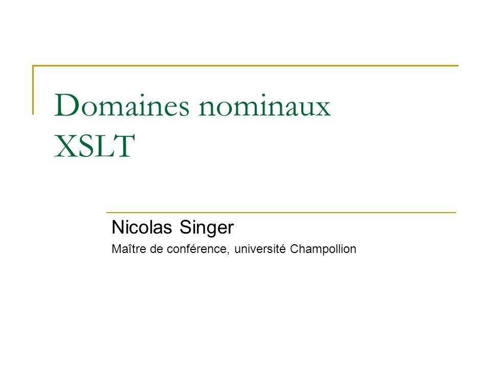 Domaines nominaux XSLT
