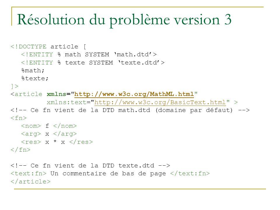 Résolution du problème version 3
