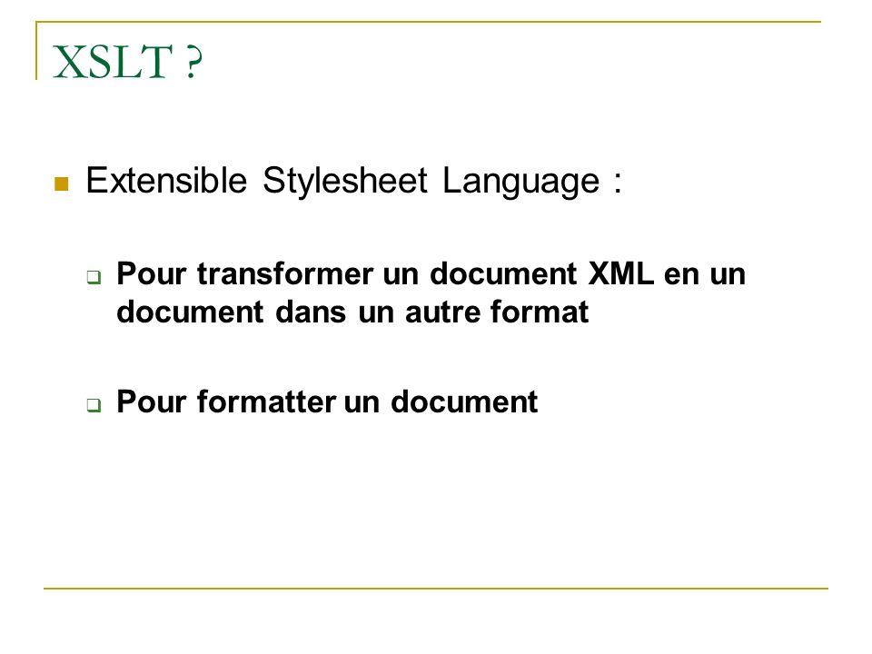 XSLT Extensible Stylesheet Language :