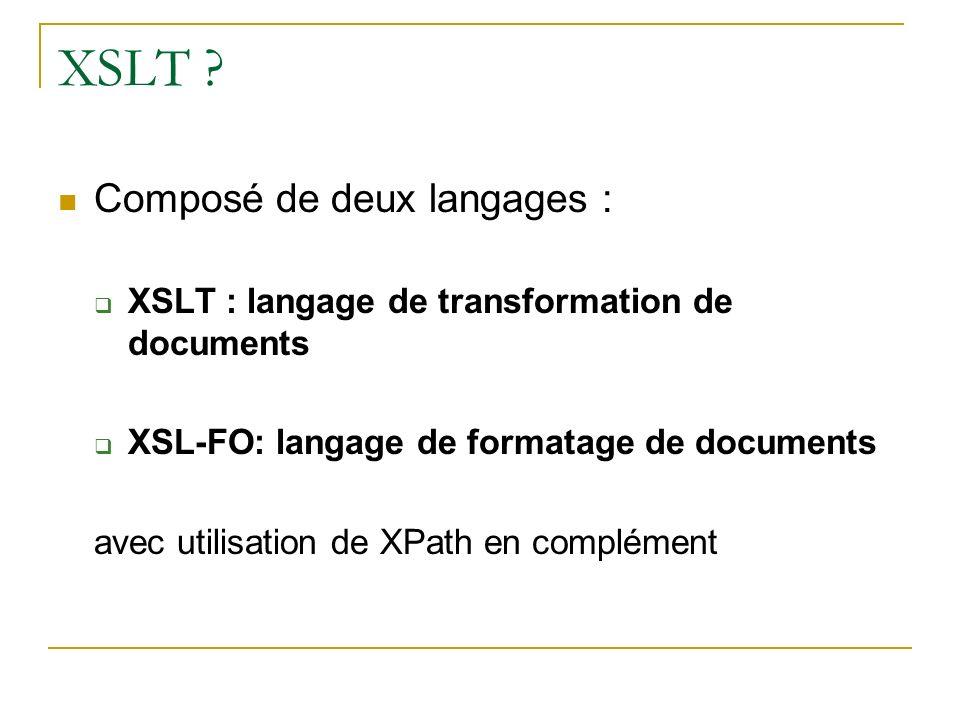 XSLT Composé de deux langages :
