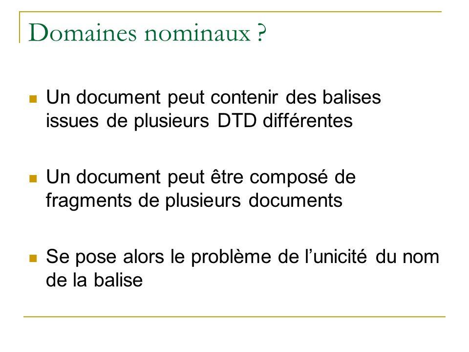 Domaines nominaux Un document peut contenir des balises issues de plusieurs DTD différentes.