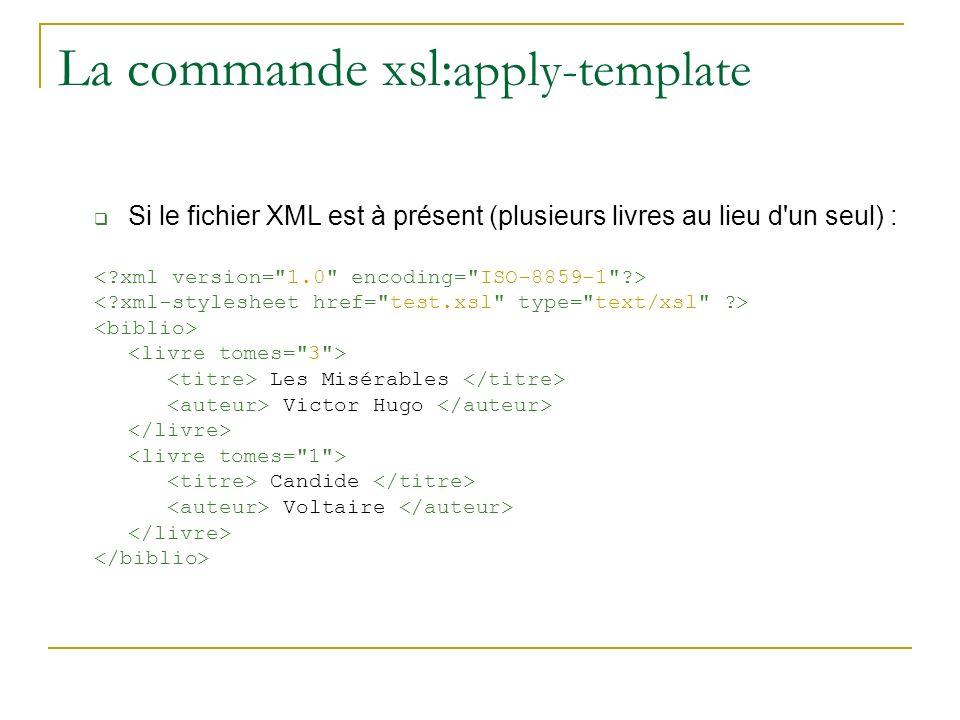 La commande xsl:apply-template