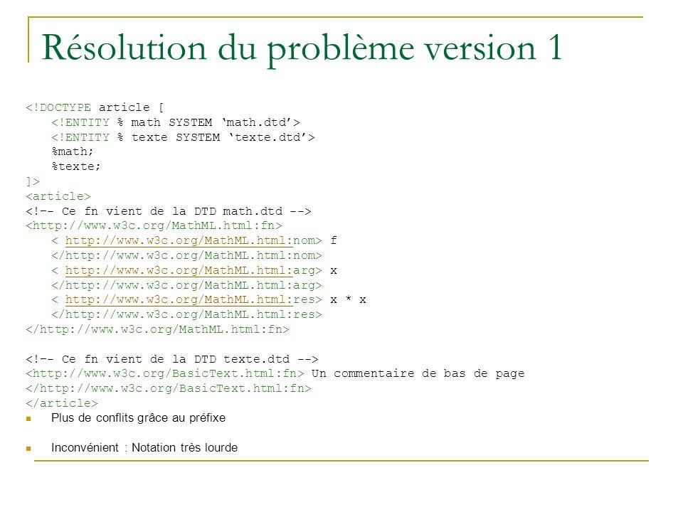 Résolution du problème version 1