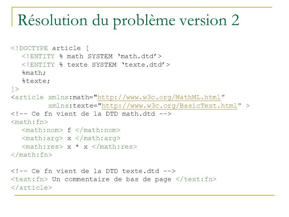 Résolution du problème version 2