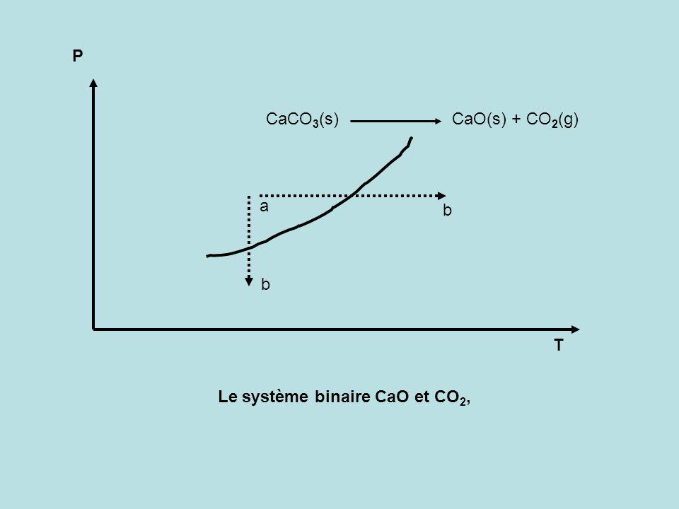 P CaCO3(s) CaO(s) + CO2(g) a b b T Le système binaire CaO et CO2,