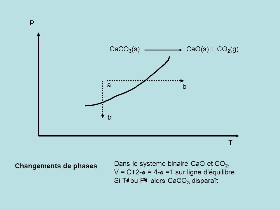 P CaCO3(s) CaO(s) + CO2(g) a. b. b. T. Dans le système binaire CaO et CO2,